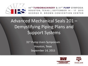 Advanced Mechanical Seals 201 - Demystifying Piping Plans