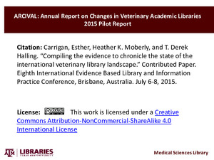 Compiling the evidence to chronicle the state of the international veterinary library landscape   (click for a larger preview)