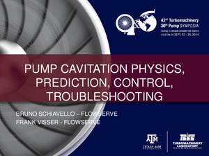 Pump Cavitation Physics, Prediction, Control, Troubleshooting