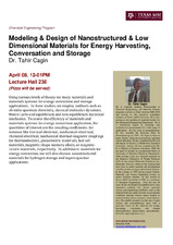 Modeling & Design of Nanostructured & Low Dimensional Materials for Energy Harvesting, Conversation and Storage   (click for a larger preview)