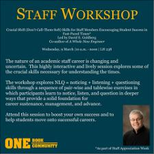 Staff Workshop 2016: Crucial Shift (Don't-Call-Them-Soft) Skills for Staff Members Encouraging Students Success in Fast-Paced Times   (click for a larger preview)